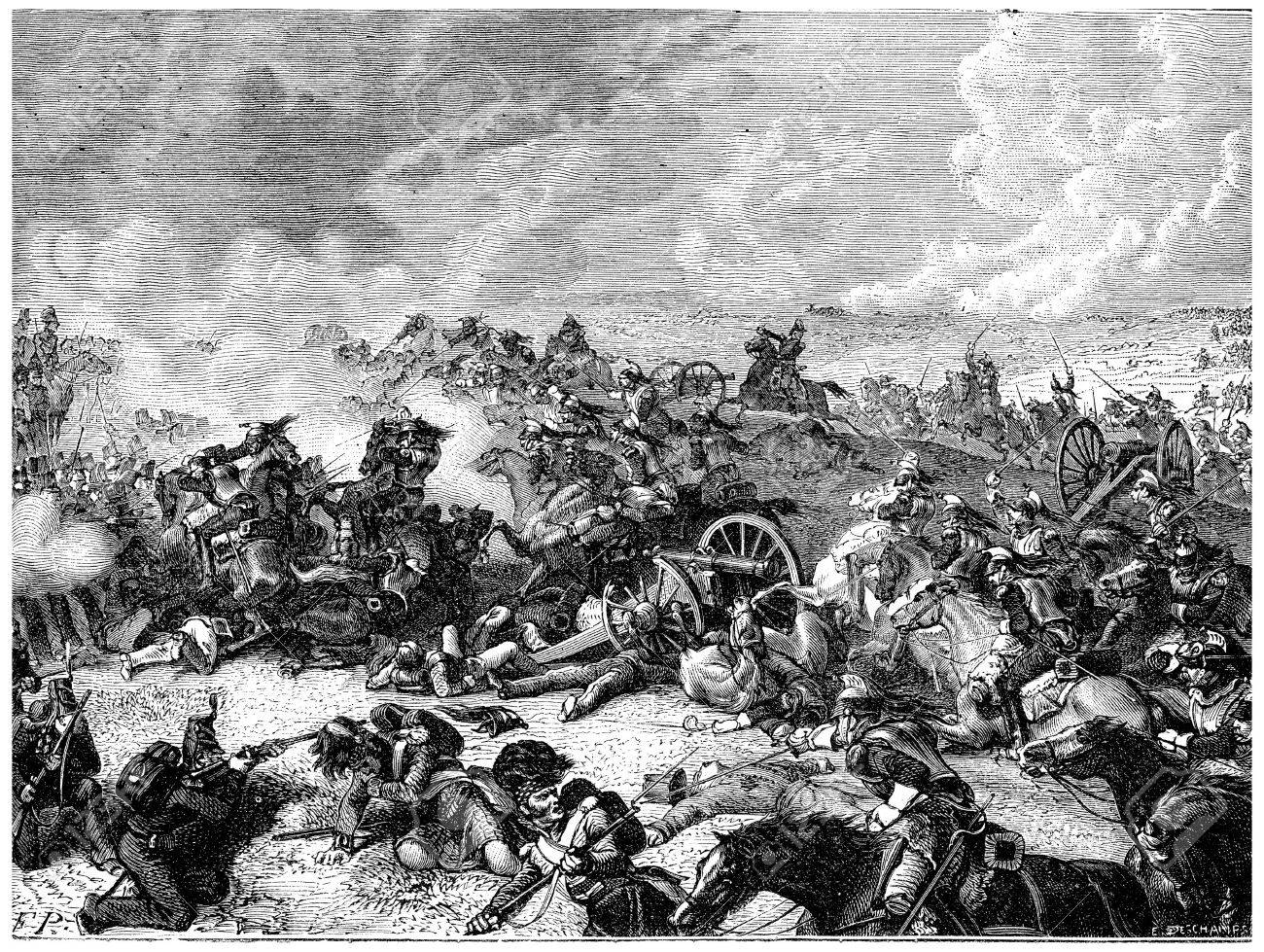 Battle of Waterloo Ney charge the land of cuirassiers, vintage engraved illustration. History of France – 1885. - 39823707