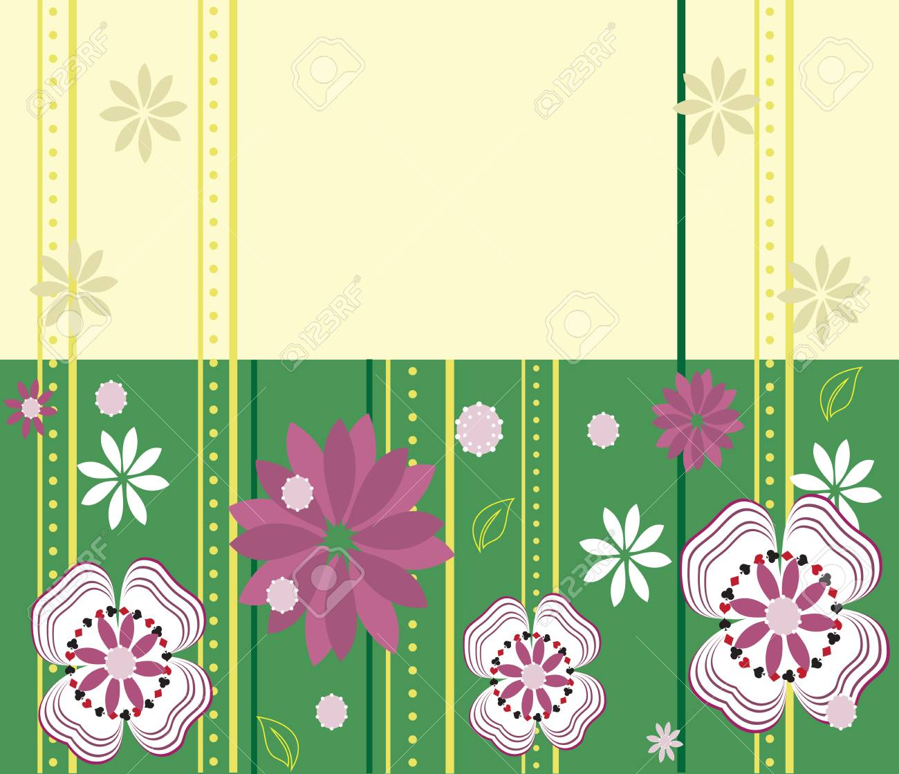 Vintage invitation card with elegant retro abstract floral design vector vintage invitation card with elegant retro abstract floral design white and purple flowers on yellow and green stopboris Images