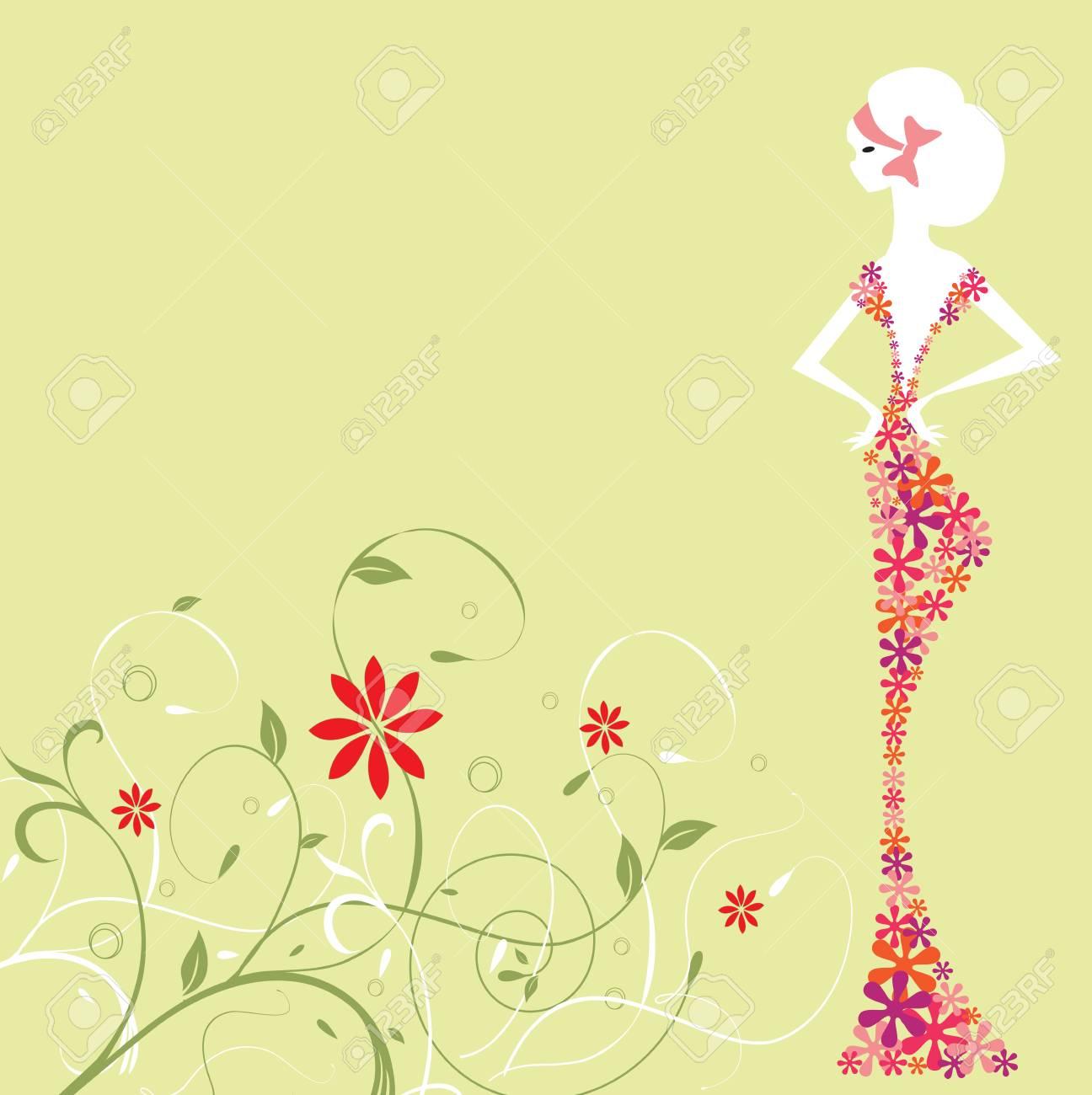 Tarjeta De Invitación Vintage Con Elegante Diseño Floral Abstracto Retro Mujer En Vestido De Flores En Verde