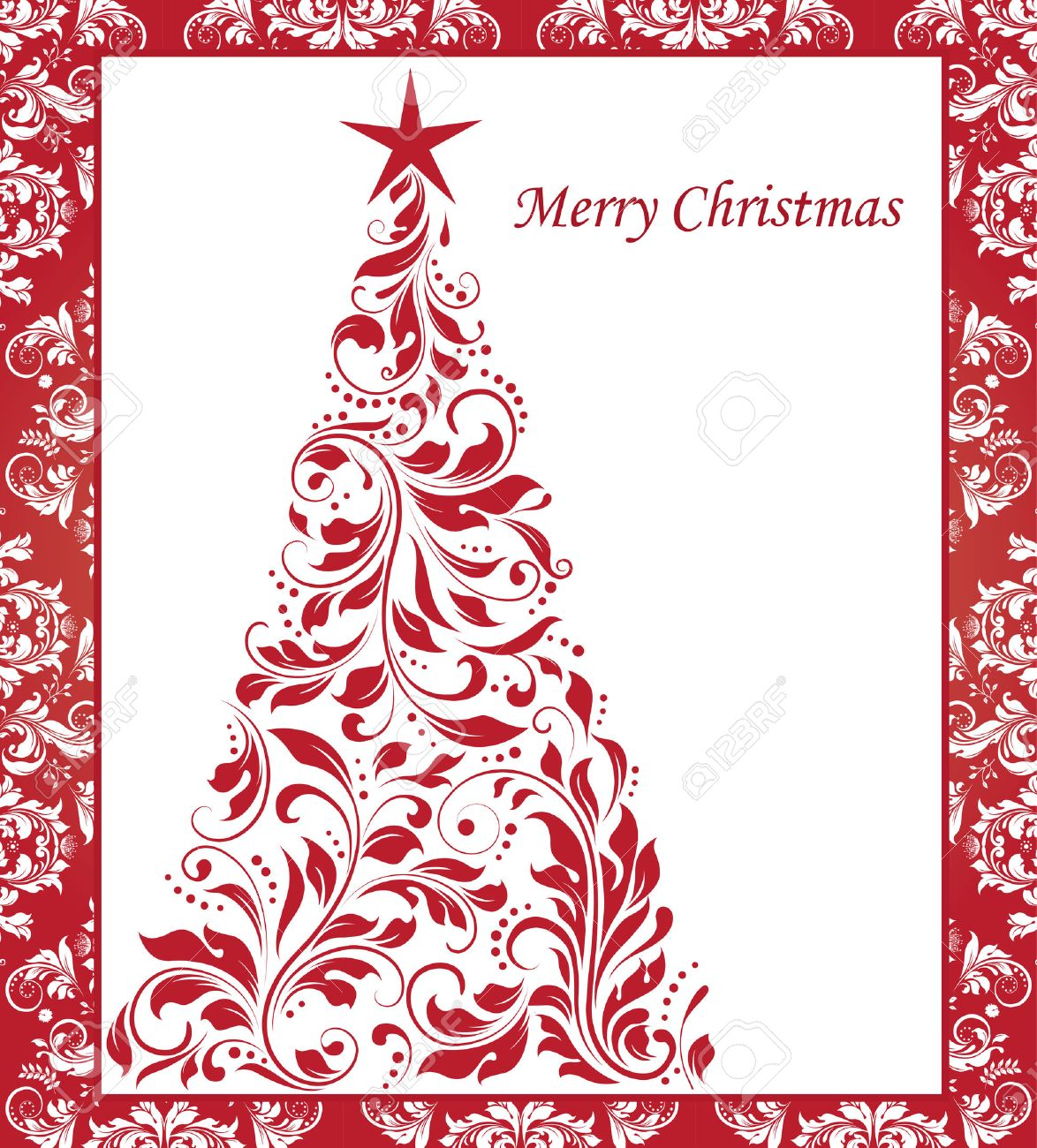 Vintage Christmas card with ornate elegant abstract floral design, red on white Christmas tree with border. Vector illustration. - 41693799