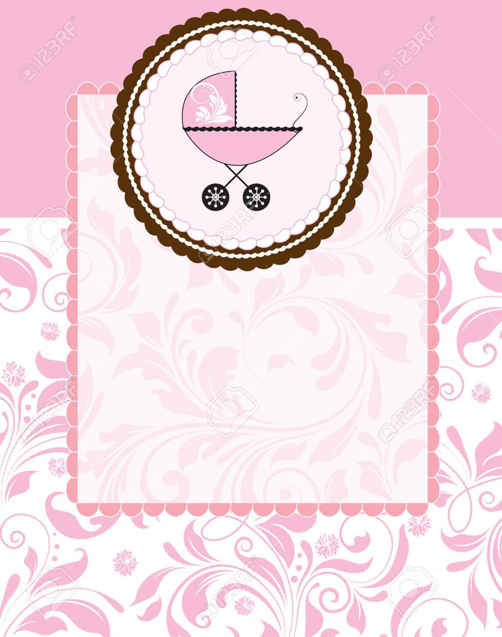Vintage baby shower invitation card with ornate elegant abstract vector vintage baby shower invitation card with ornate elegant abstract floral design pink flowers on brown with baby carriage on cake stopboris Choice Image