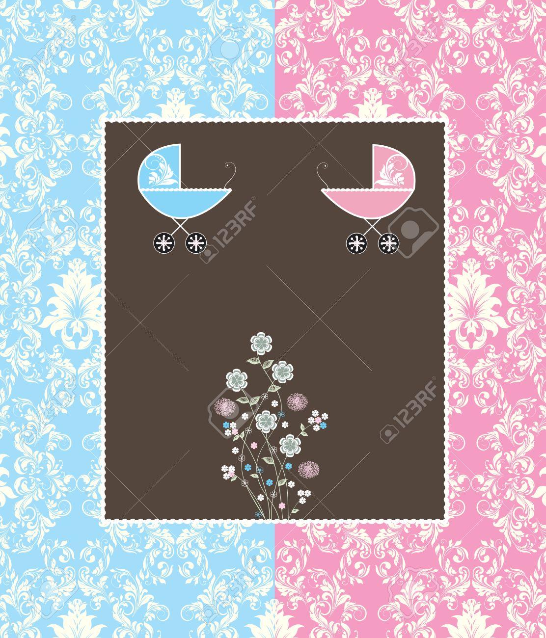 Vintage Tarjeta De Invitación Baby Shower Con Diseño Adornado Elegante Retro Abstracto Floral Azul Claro Y Rosa Con El Carro De Bebé Sobre Fondo