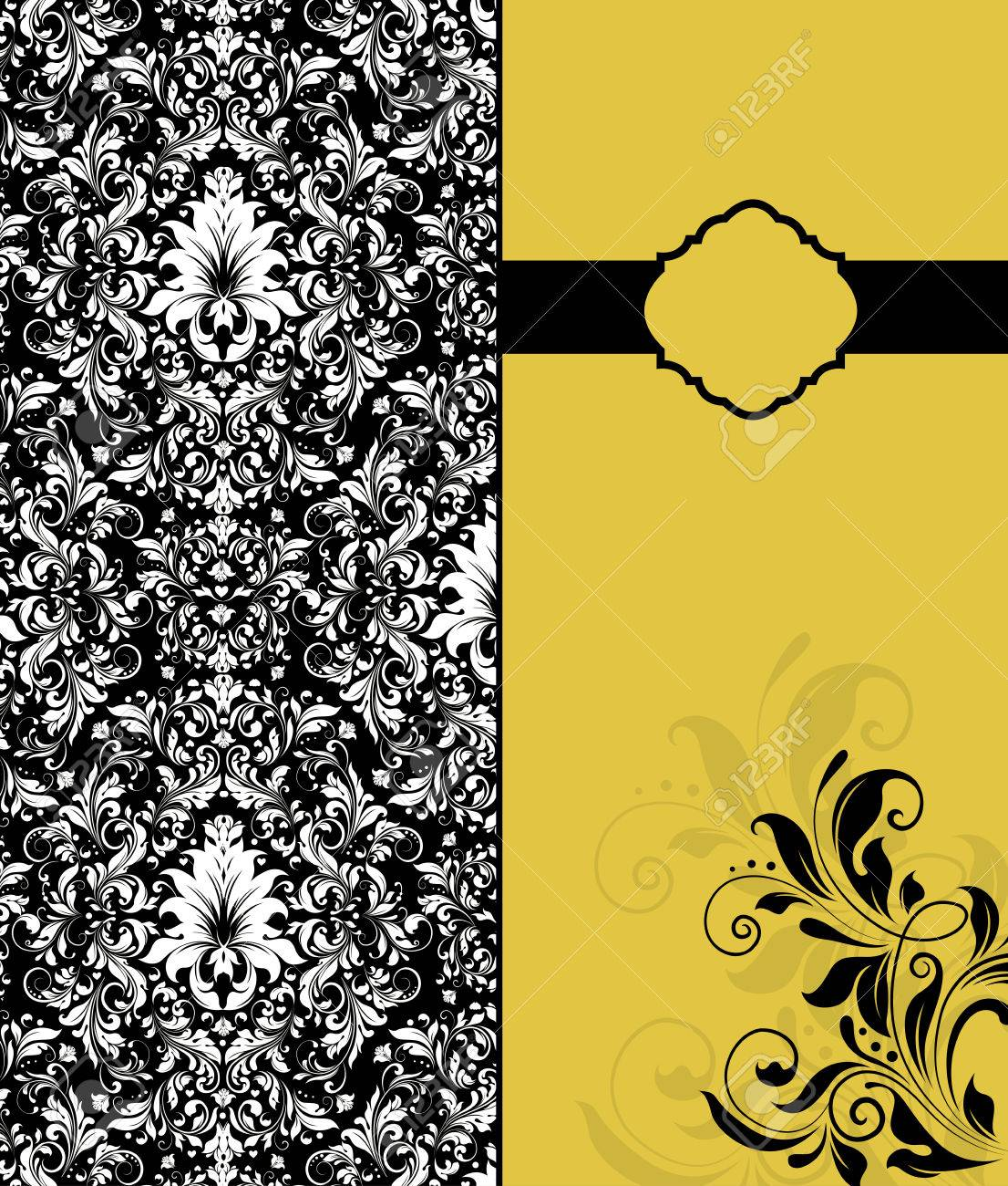 Vintage invitation card with ornate elegant retro abstract floral white flowers on black background and black flowers on saffron yellow background with ribbon vector illustration vintage invitation card stopboris Image collections