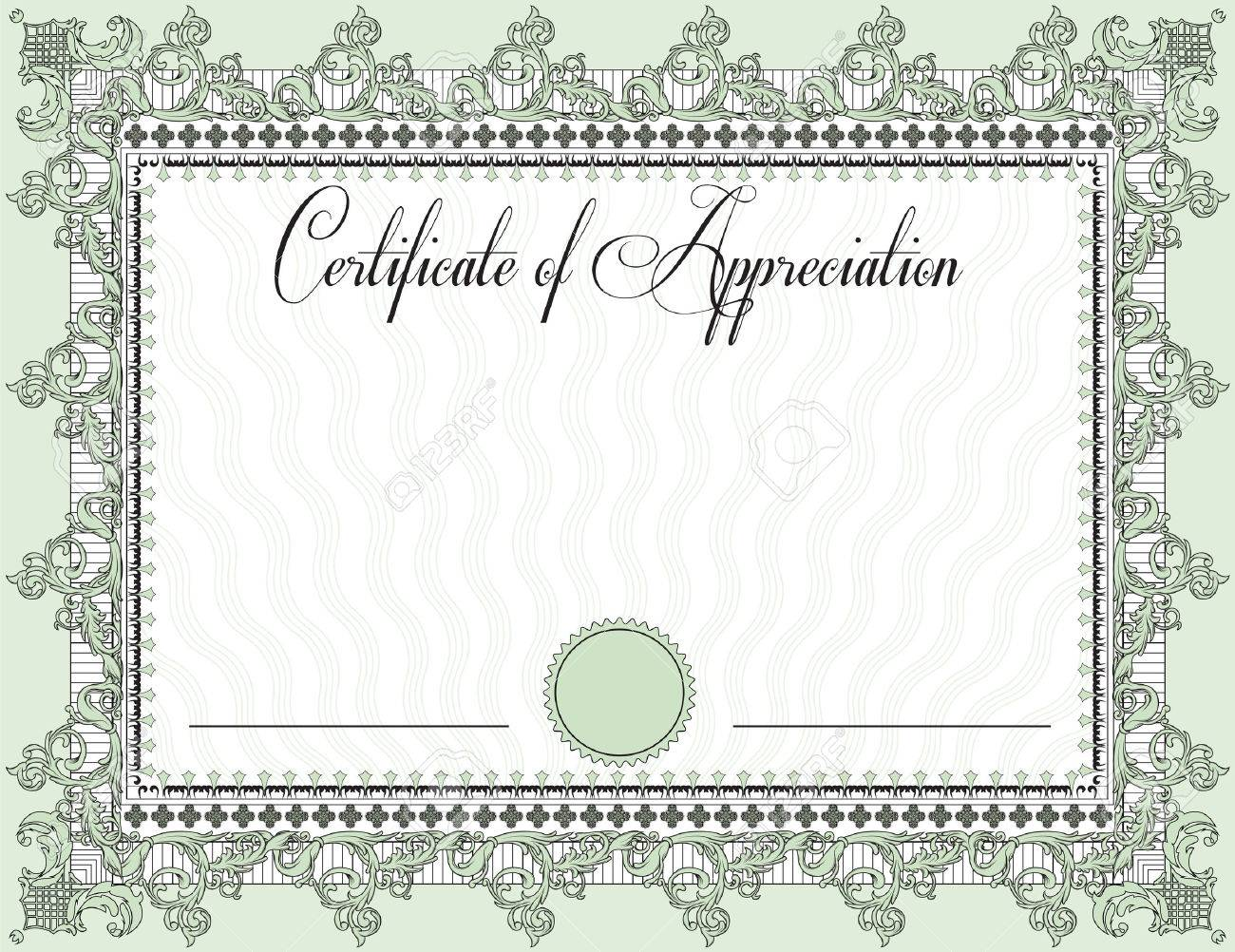 Vintage certificate of appreciation with ornate elegant retro vintage certificate of appreciation with ornate elegant retro abstract floral design black and laurel green yelopaper Choice Image