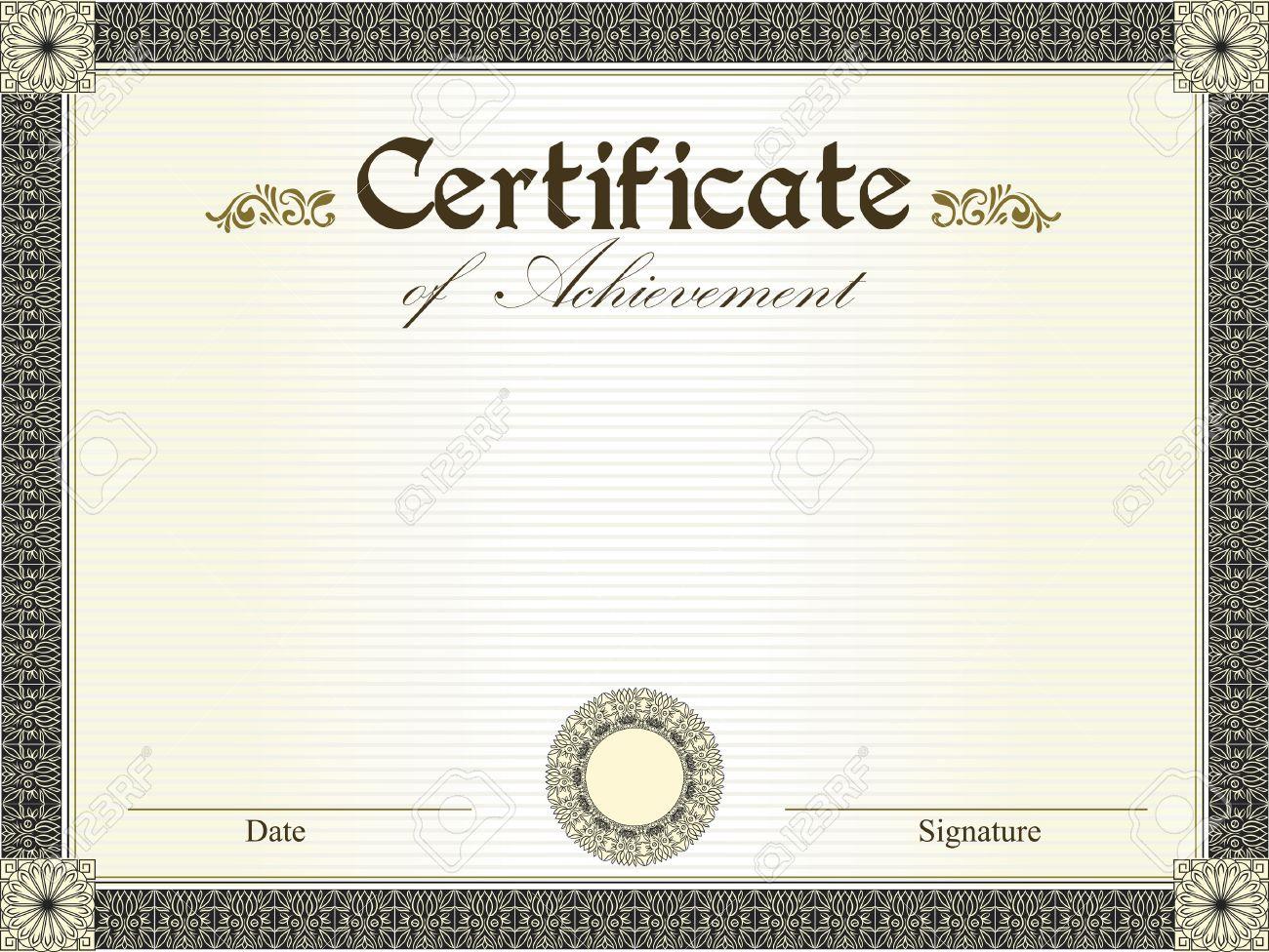 Certificado De La Vendimia De Logro Con Flores De Diseño Retro ...