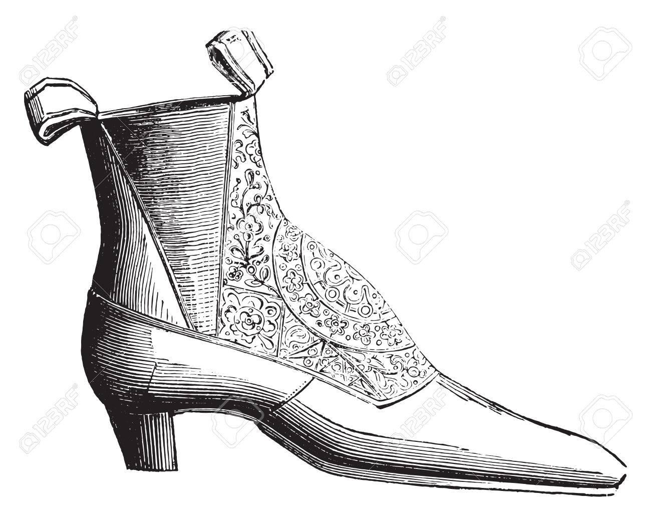 Ankle boot low elastic silk, vintage engraved illustration. Industrial encyclopedia E.-O. Lami - 1875. - 41720218