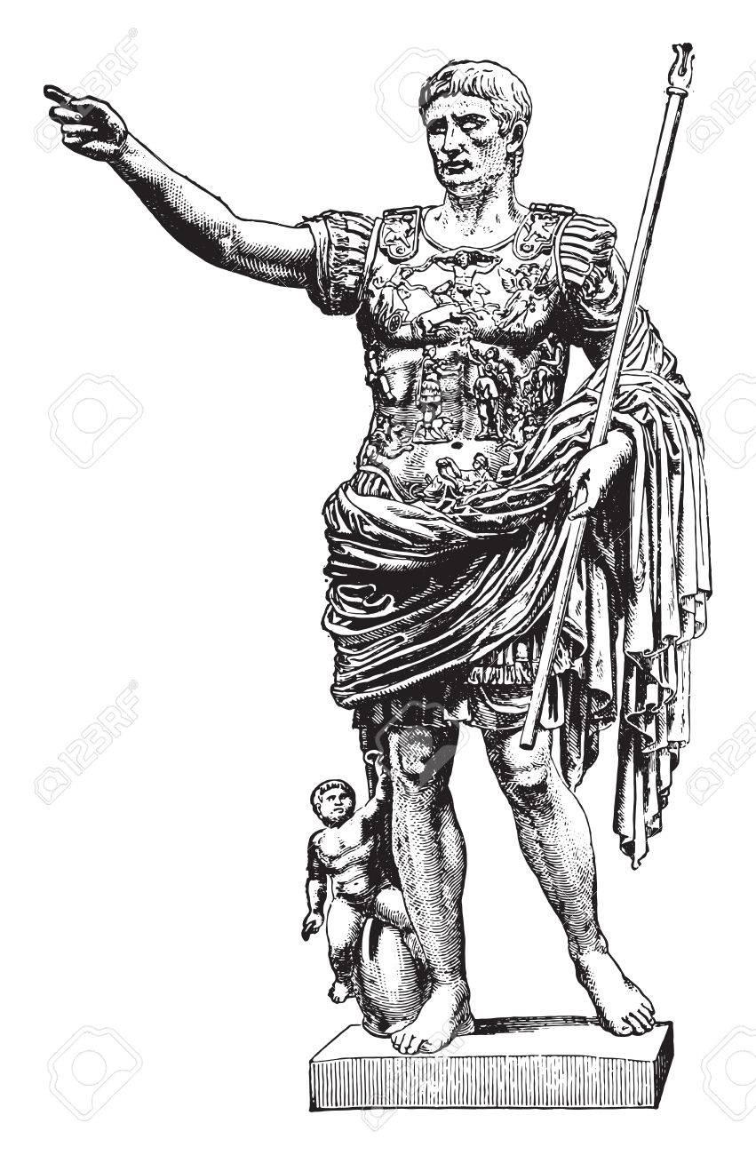 Statue of Augustus, vintage engraved illustration. Industrial encyclopedia E.-O. Lami - 1875. - 41776928