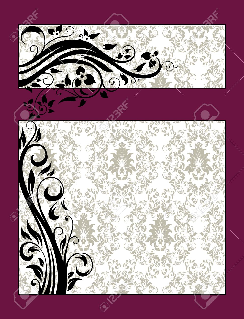 Vintage invitation card with ornate elegant retro abstract floral vector vintage invitation card with ornate elegant retro abstract floral design black flowers and leaves on pale green and white background with maroon stopboris Images