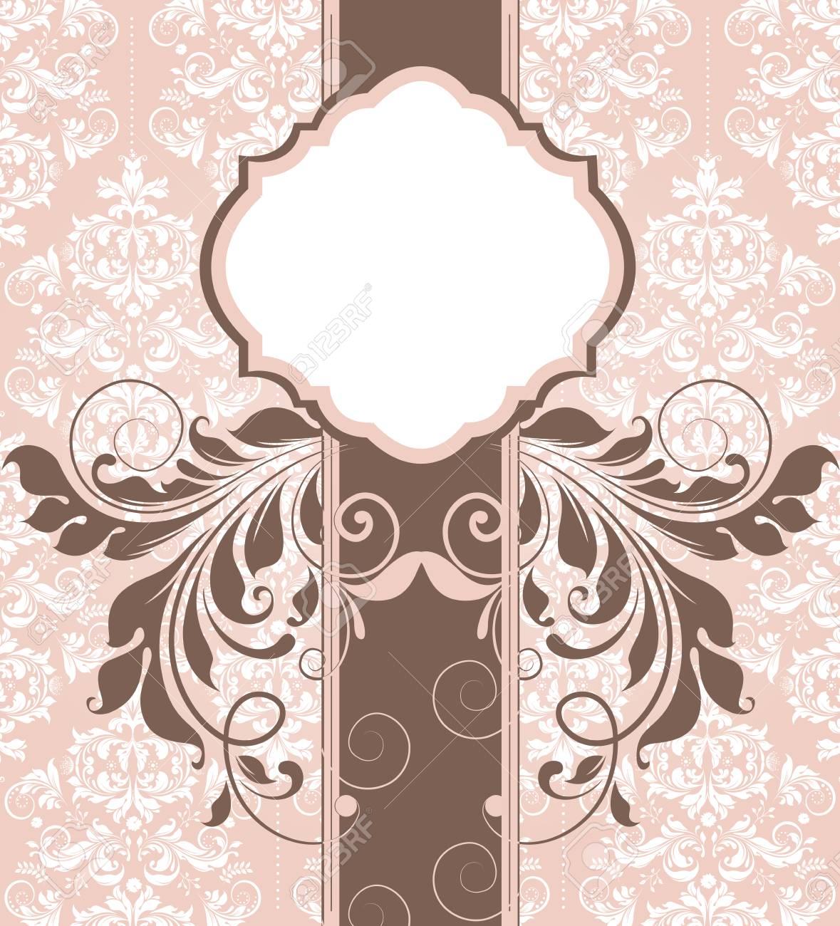 Tarjeta De Invitación Vintage Con Diseño Floral Abstracto Retro Elegante Adornado Flores Marrones Y Hojas Sobre Fondo Beige Y Blanco Con Etiqueta De