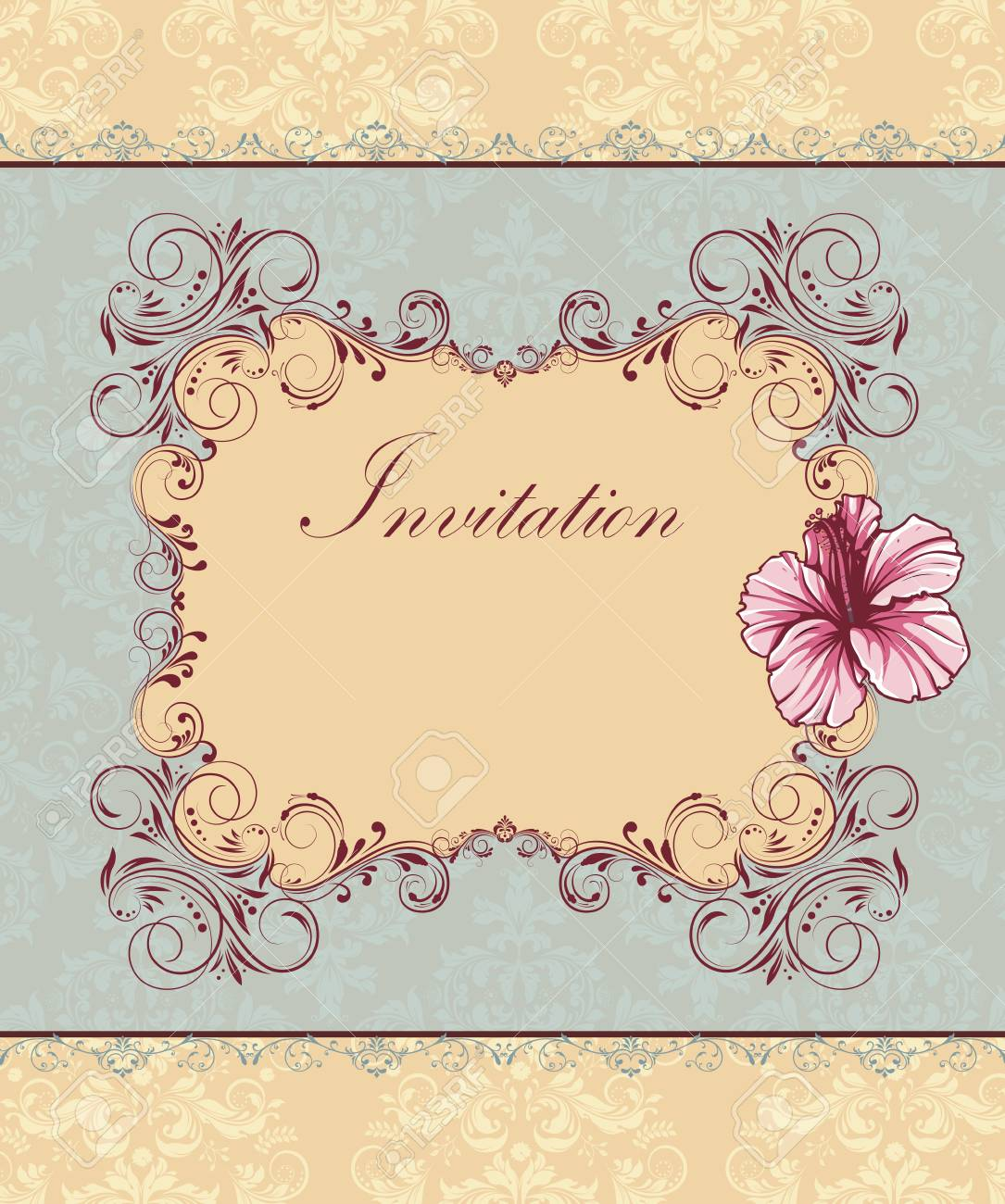 Tarjeta De Invitación Vintage Con Diseño Floral Abstracto Retro Elegante Adornado Flores De Color Rosa Y Rojo Oscuro Y Hojas Sobre Fondo Verde Pálido