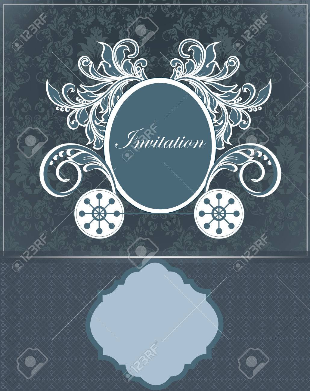 Vintage invitation card with ornate elegant retro abstract floral vector vintage invitation card with ornate elegant retro abstract floral design cadet blue flowers and leaves on dark gray and midnight blue background izmirmasajfo