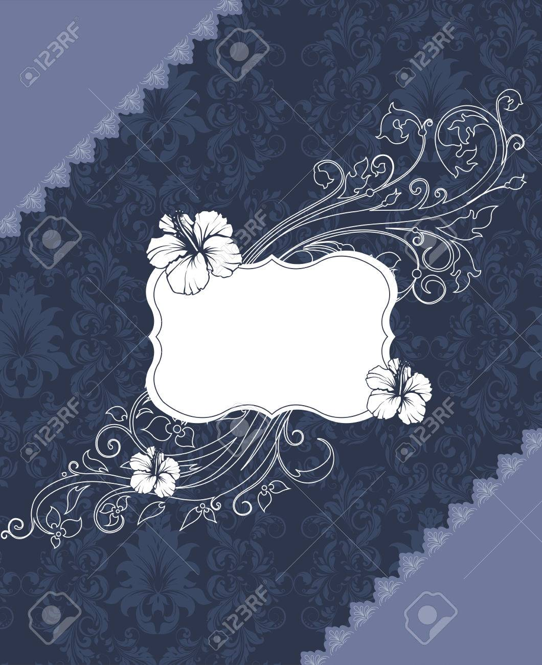 Vintage invitation card with ornate elegant retro abstract floral vector vintage invitation card with ornate elegant retro abstract floral design white grayish blue flowers and leaves on midnight blue and gray izmirmasajfo