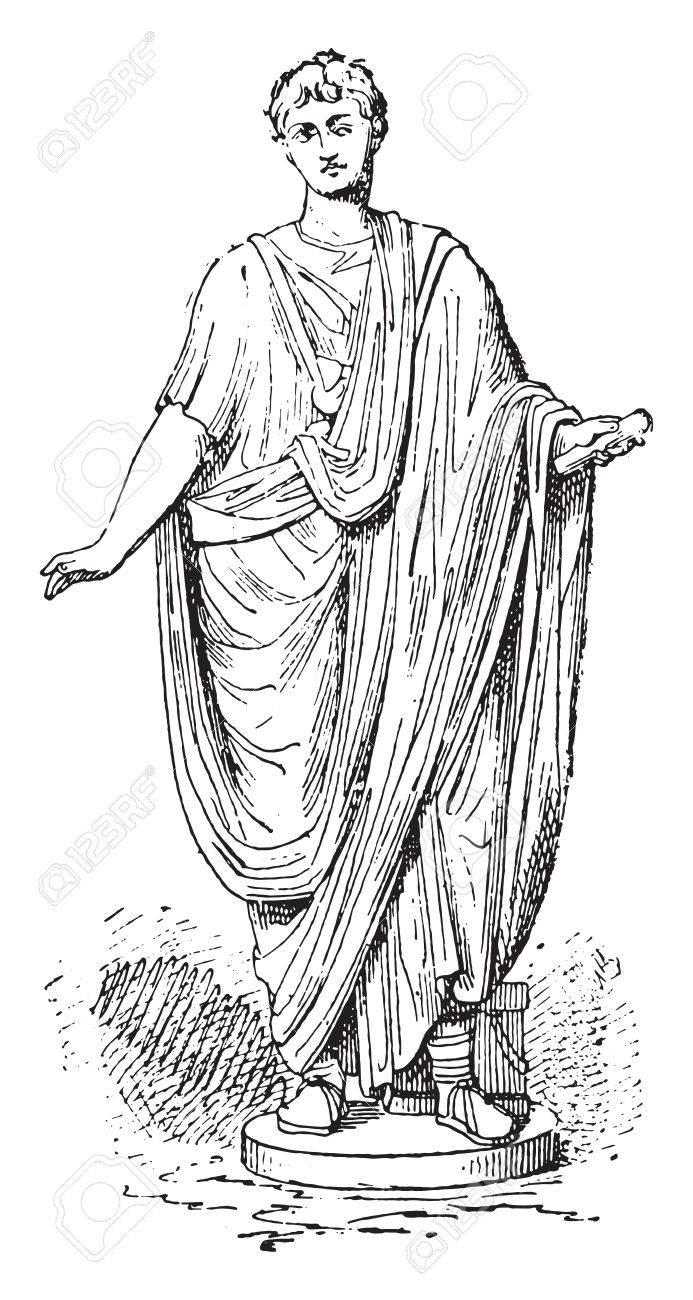 roman toga vintage engraved illustration royalty free cliparts
