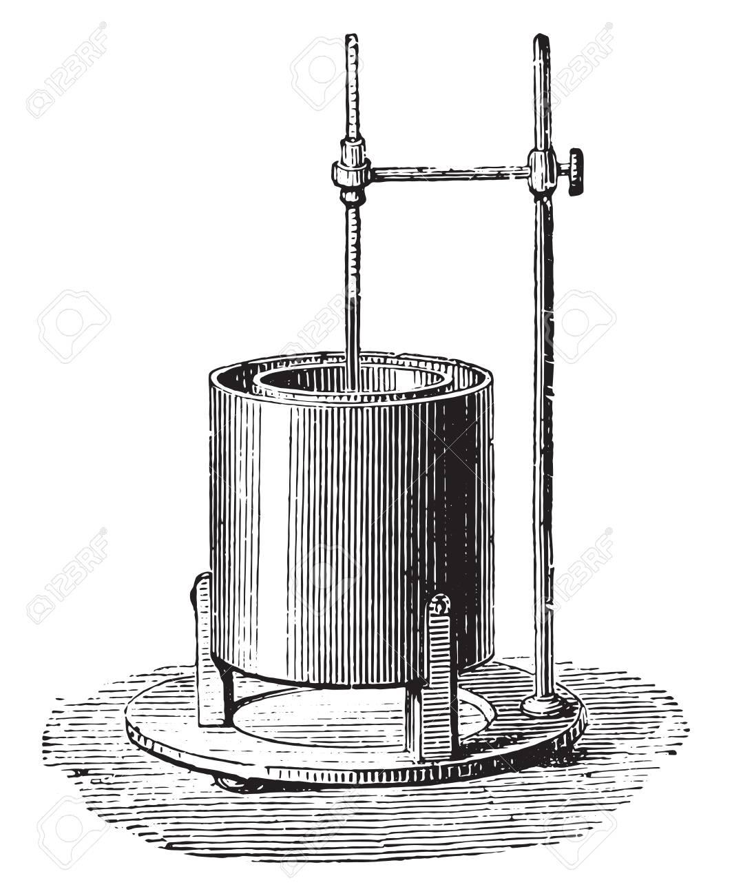 Black calorimeter, vintage engraved illustration. Industrial encyclopedia E.-O. Lami - 1875. - 42020991