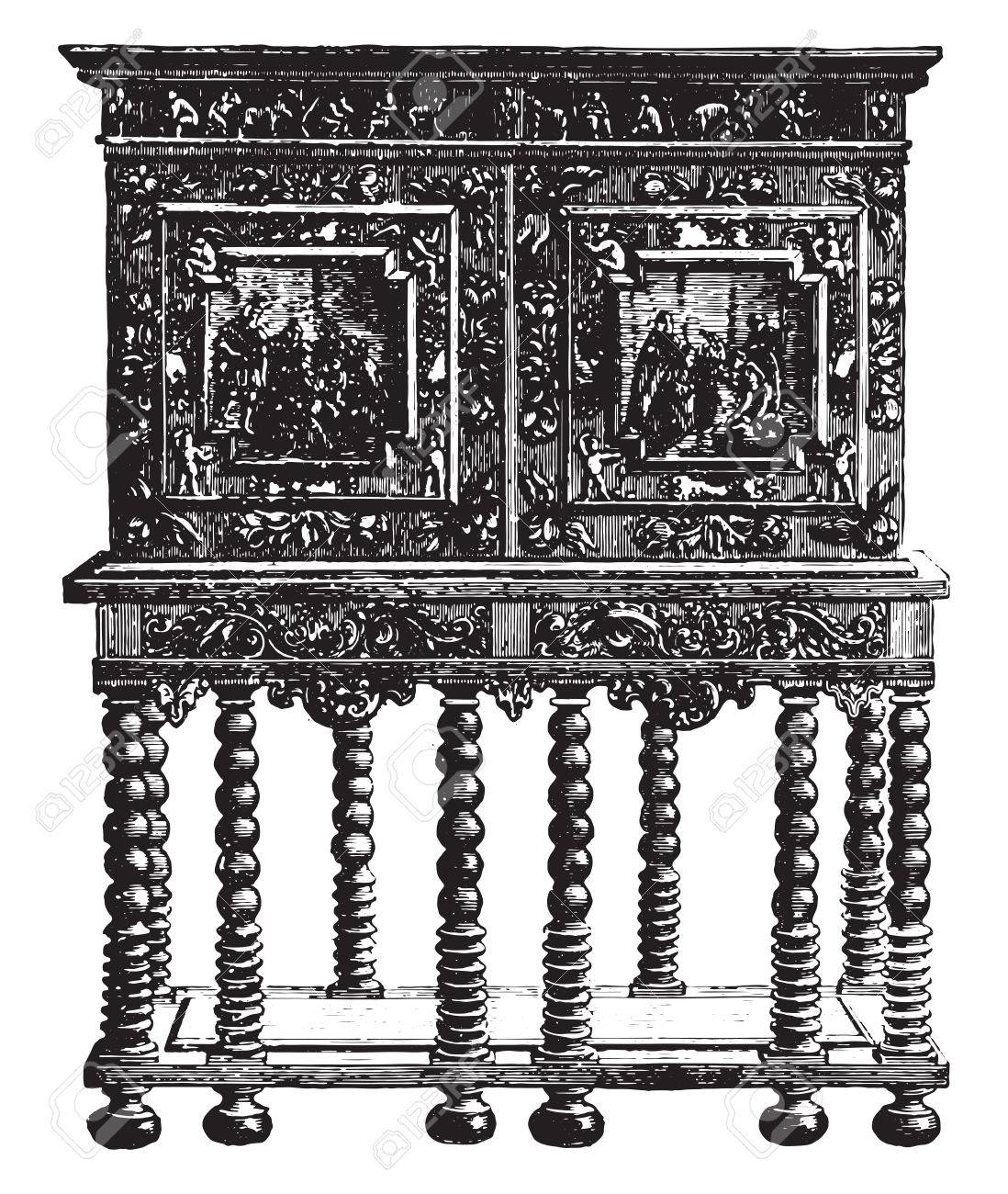 Merveilleux Office Furniture On Credence Table Ebony Sixteenth Century (Hammer Museum  In Stockholm, Vintage Engraved