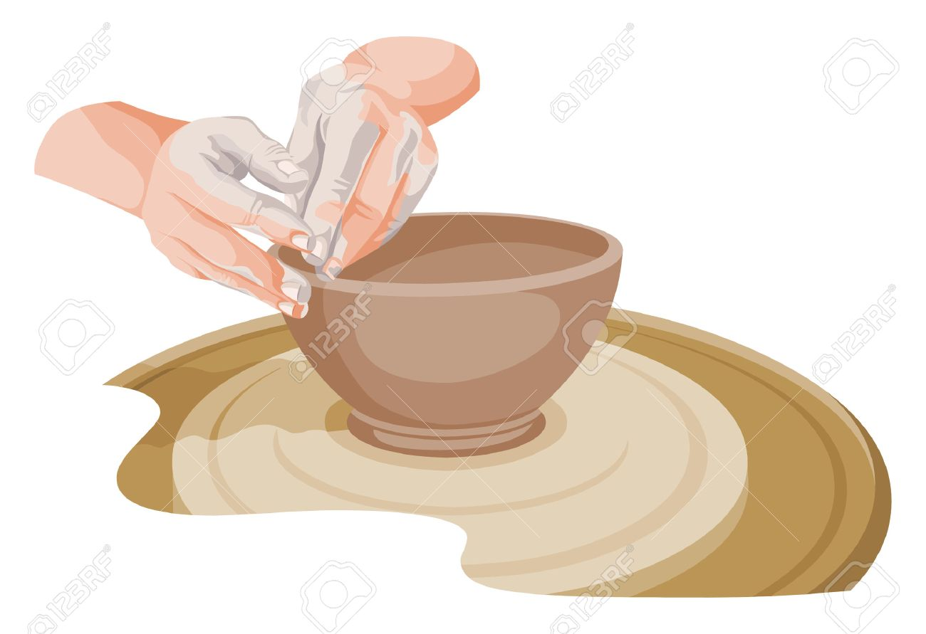 陶器を作る手のベクター イラストですのイラスト素材ベクタ Image