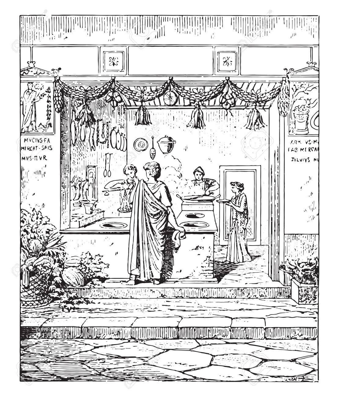 Public Kitchen, Vintage Engraved Illustration. Royalty Free Cliparts ...
