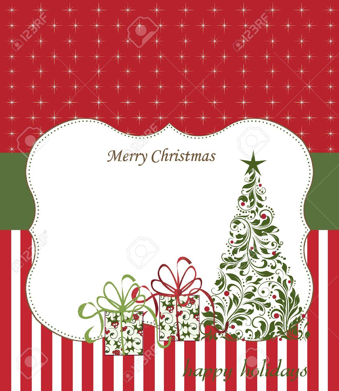 vintage tarjeta de navidad con elegante diseo floral rboles y cajas de regalo abstractos retros