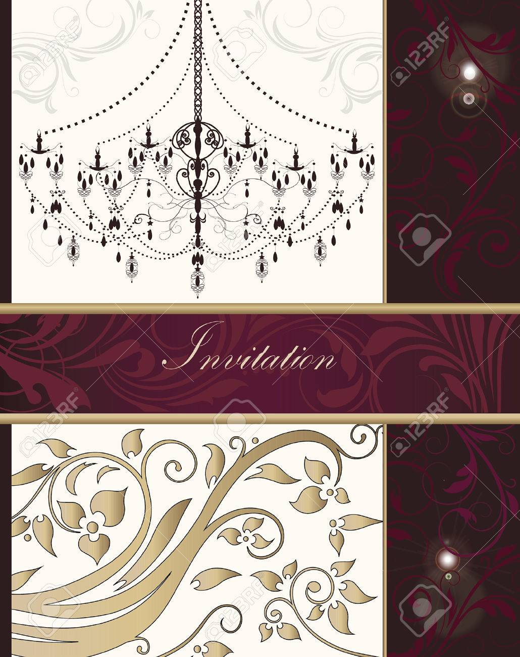Vintage invitation card with ornate elegant retro abstract floral gold red and fuschia pink flowers and leaves on beige and dark red background with chandelier divider and ribbon text label vector illustration stopboris Choice Image