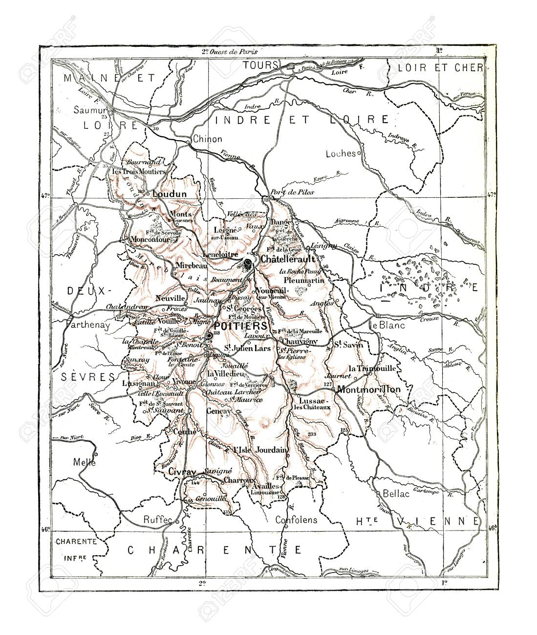 Map Of Department Of Vienna, Vintage Engraved Illustration ... Dictionary Map on