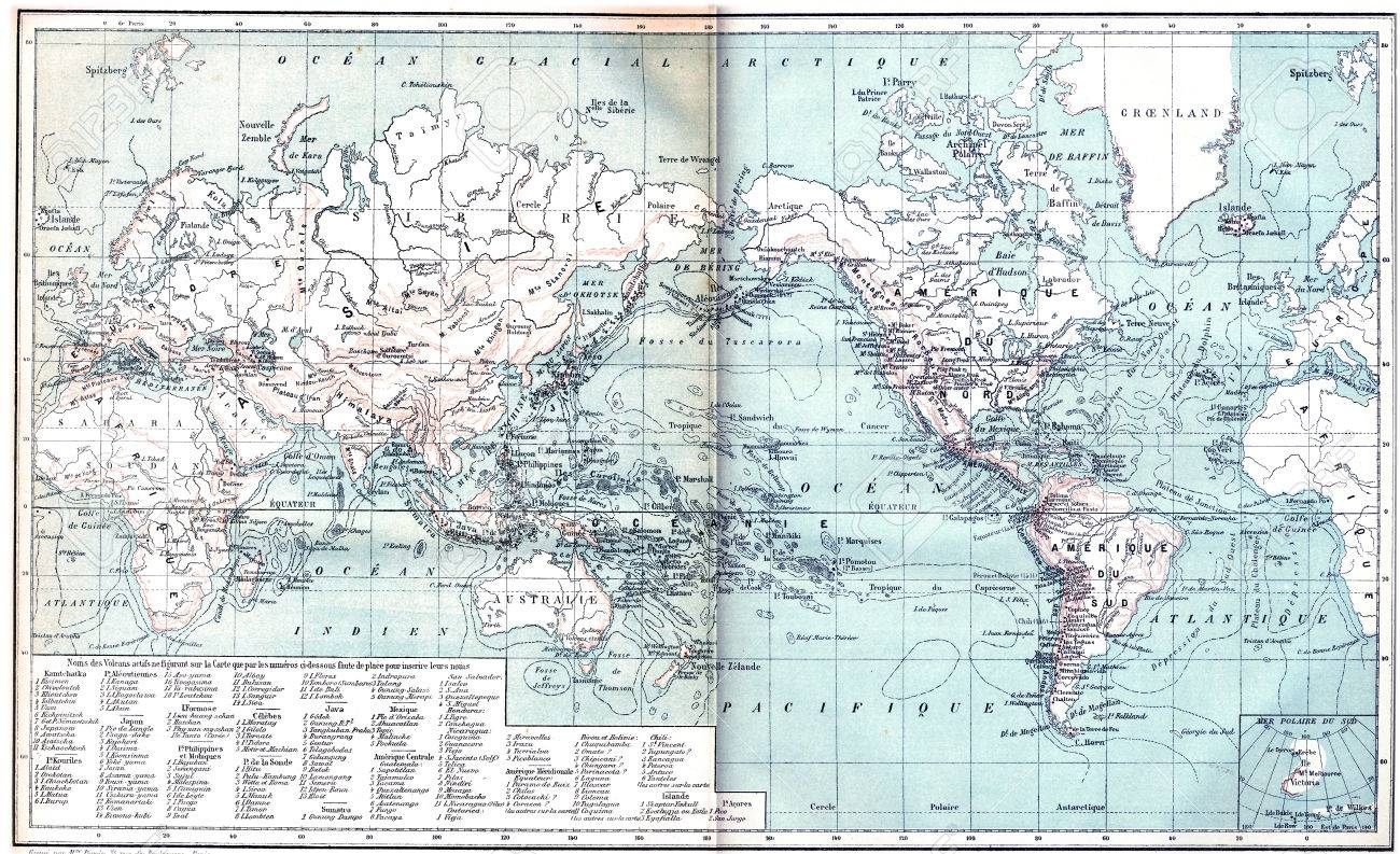 illustration map showing active volcanoes across asia europe africa and australia north and south america vintage engraved illustration