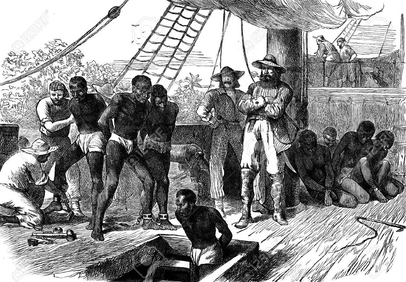 Slavery in Africa. The Treaty, vintage engraved illustration. Journal des Voyage, Travel Journal, (1880-81). - 42528612