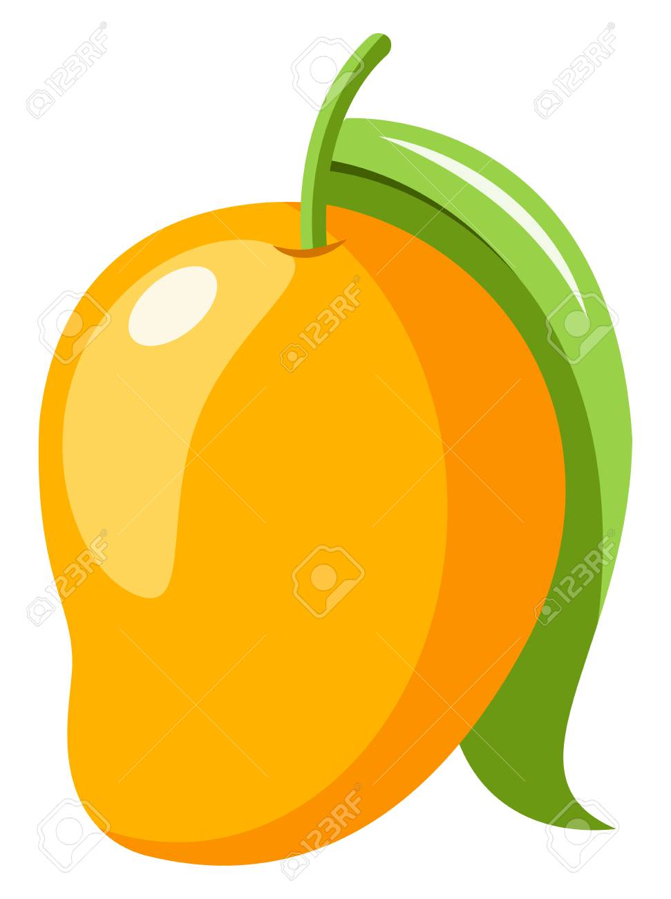 A Yellow Colored Mango With Green Leaf Vector Color Drawing Royalty Free Cliparts Vectors And Stock Illustration Image 120987316