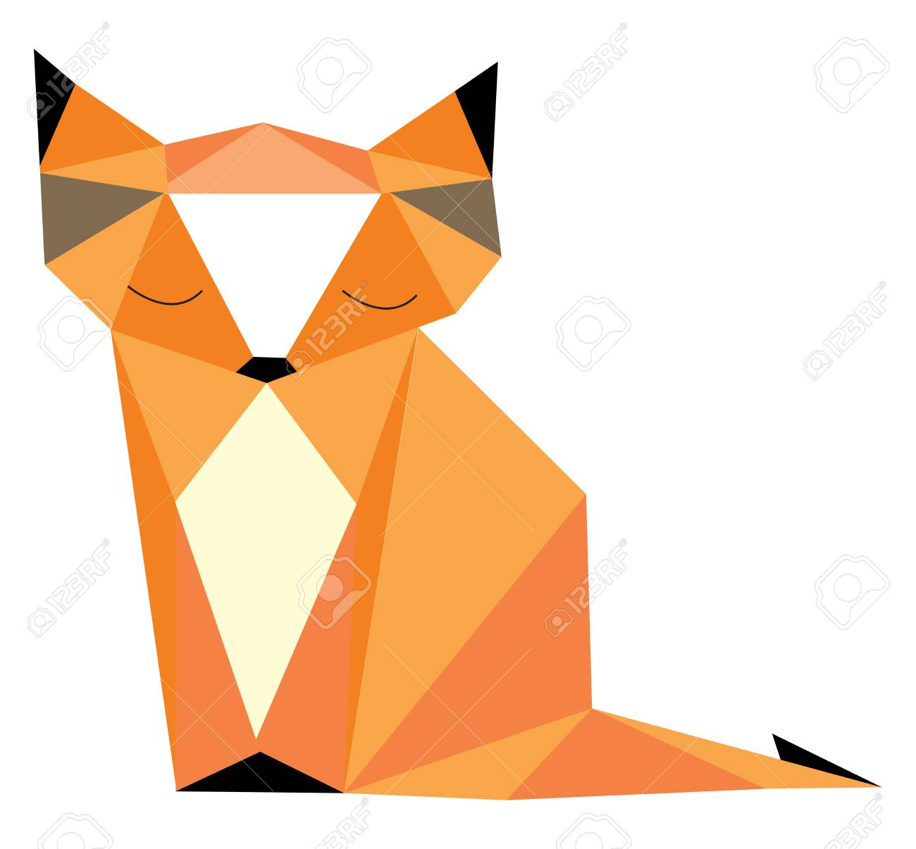 A picture of fox made out of geometrical shapes using whiteorangeblack