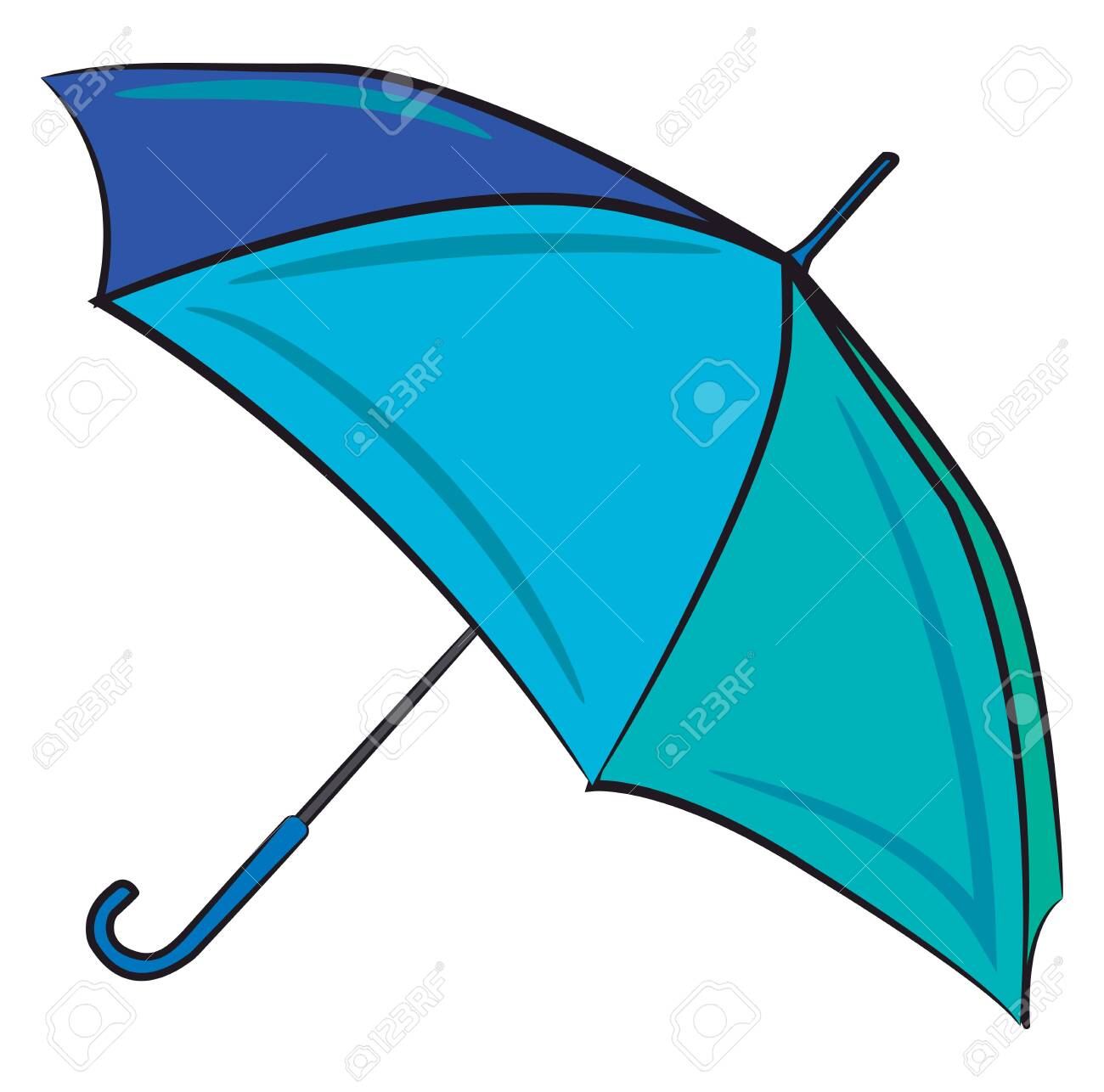 A Big Open Umbrella In Blue Color Vector Color Drawing Or Illustration Royalty Free Cliparts Vectors And Stock Illustration Image 123449484