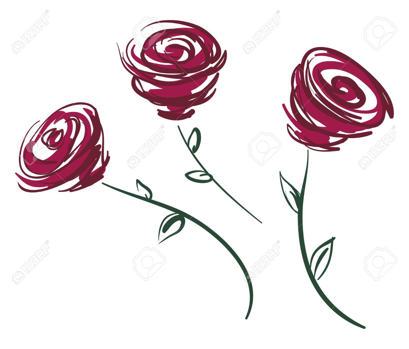 Painting Of Three Beautiful Red Rose Stem Vector Color Drawing Royalty Free Cliparts Vectors And Stock Illustration Image 123461778