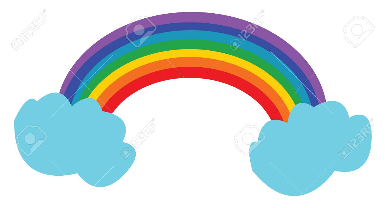 A bright rainbow arch can be seen n between clouds vector color