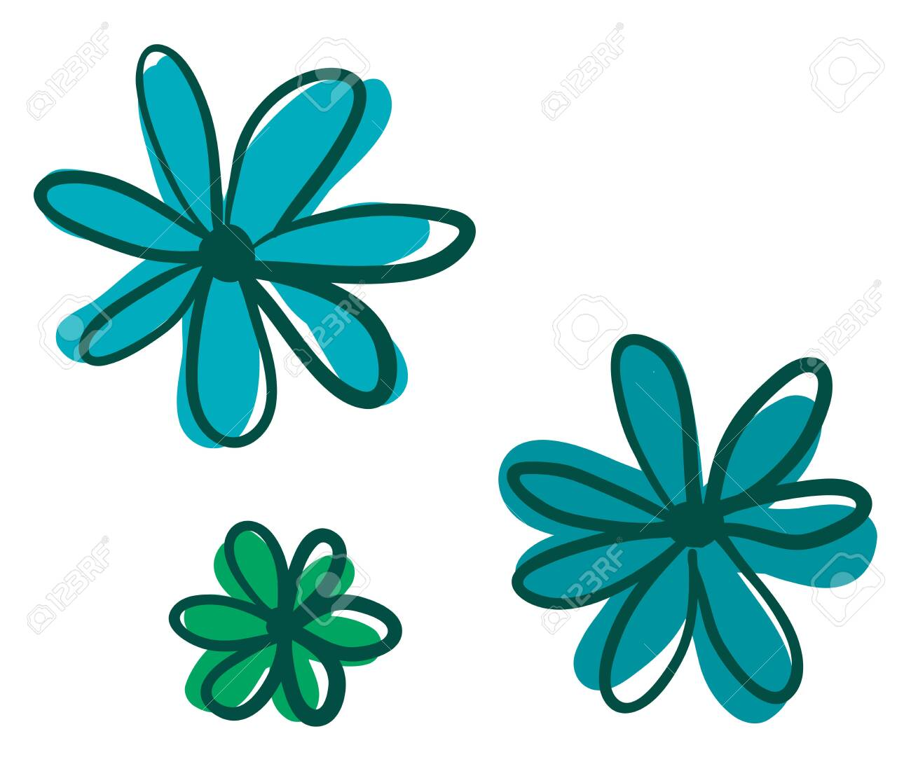A Cartoon Including Three Simple Flowers Drawn In Green And Blue Royalty Free Cliparts Vectors And Stock Illustration Image 120989190
