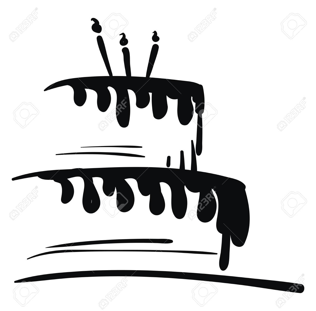 Fabulous Black And White Birthday Cake Vector Or Color Illustration Royalty Funny Birthday Cards Online Alyptdamsfinfo