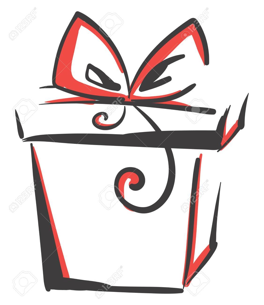 Drawing Of A Gift Box Vector Or Color Illustration Royalty Free Klipartlar Vektor Cizimler Ve Stok Cizim Image 123411507