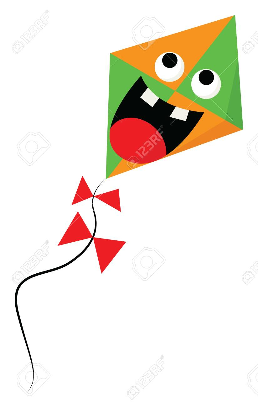 A Scared Orange And Green Colored Cartoon Kite With Its Mouth Royalty Free Cliparts Vectors And Stock Illustration Image 123411843