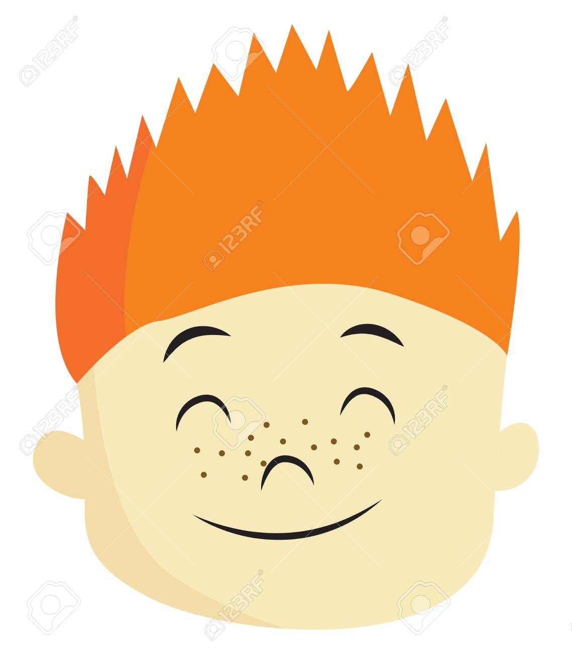 A Boy With Orange Spiked Hair And Freckles On The Face Is Closing Royalty Free Cliparts Vectors And Stock Illustration Image 123411971