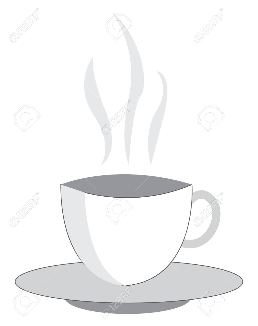 A Drawing Of A Set Of White Cup And Saucer Which Has Hot Liquid Royalty Free Cliparts Vectors And Stock Illustration Image 121232559