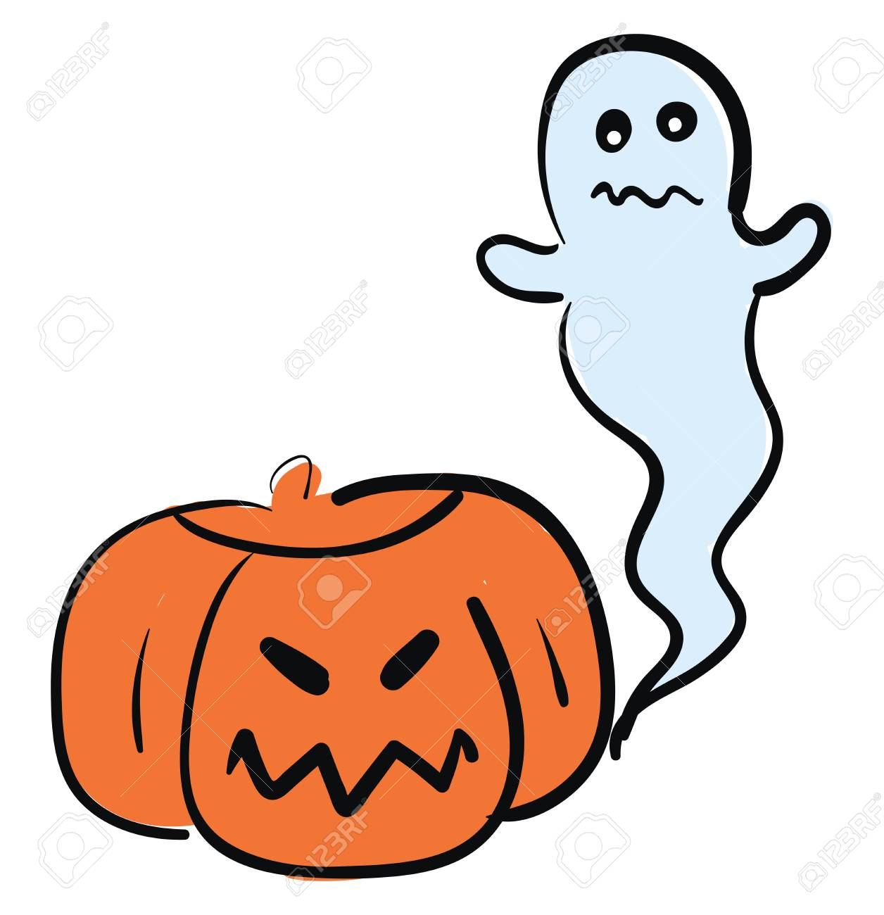 A Picture Of A Ghost And A Jack O Lantern Used During Halloween Royalty Free Cliparts Vectors And Stock Illustration Image 123412331