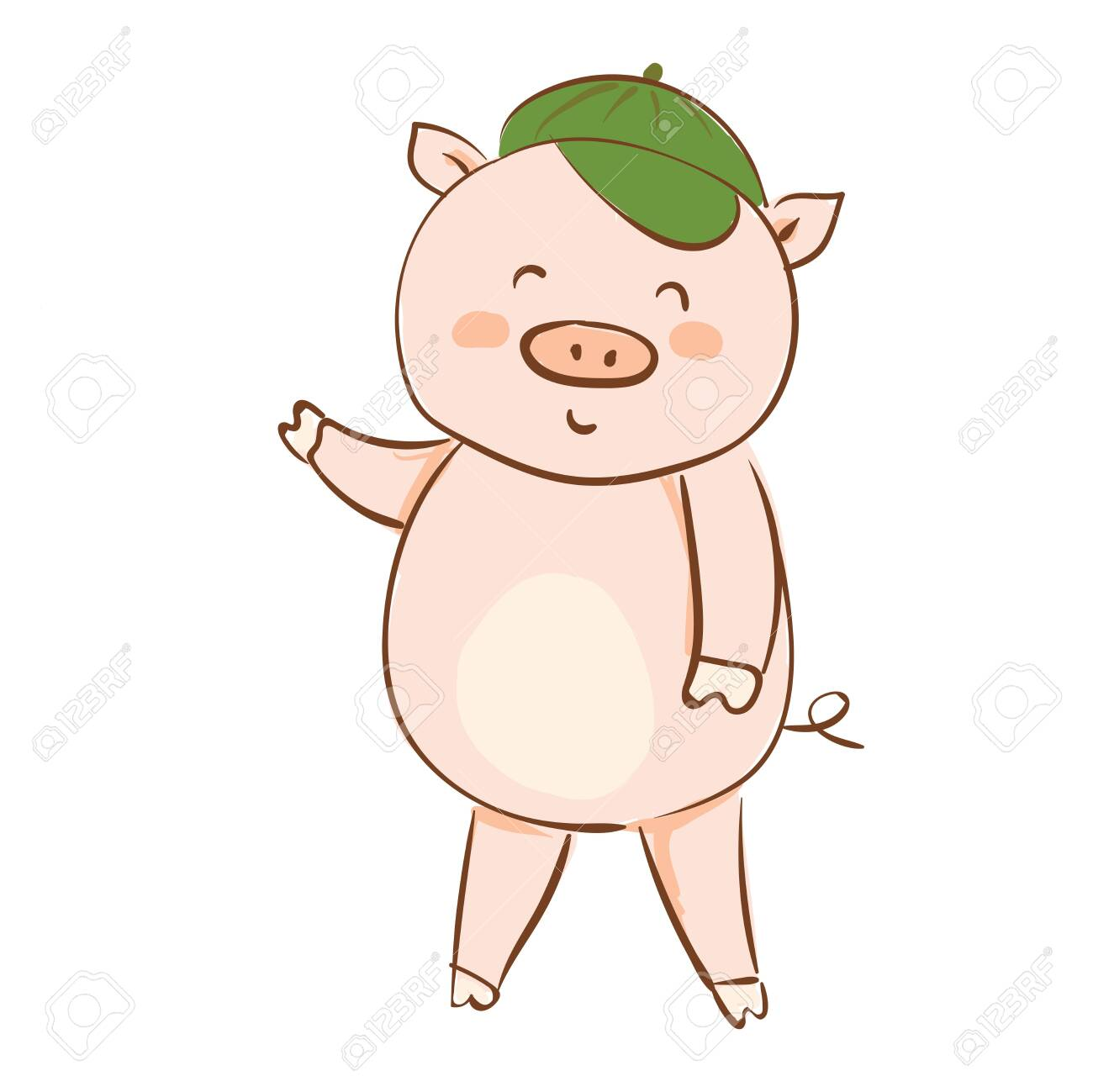 Drawing Of A Cartoon Pig In A Green Summer Cap Waving His Hand
