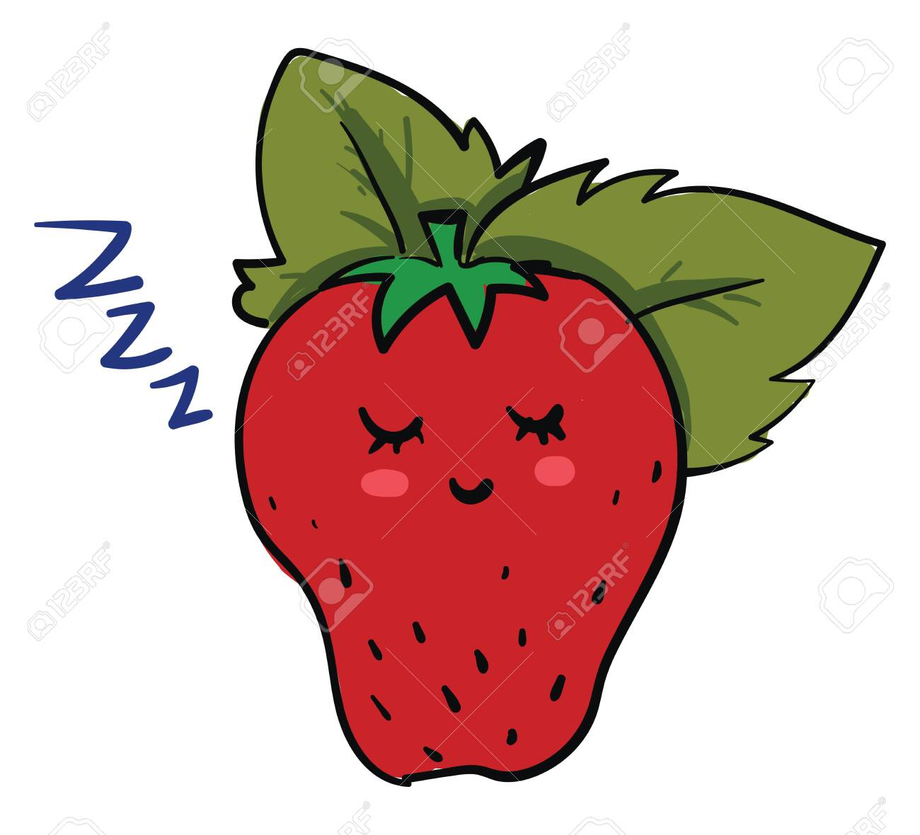 A ripe red strawberry with a green leaf sleeping, vector, color drawing or illustration. - 132772517