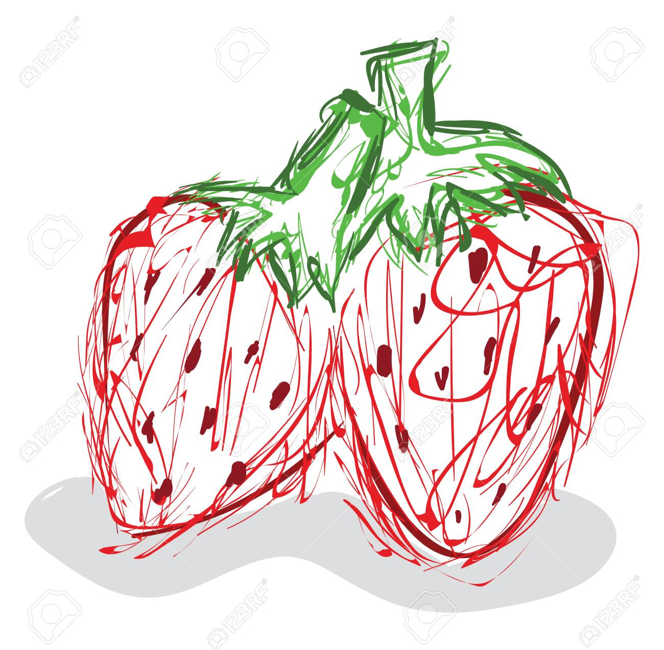 Child sketch drawing of a couple of red strawberries with stout green stalks stands beside each other, vector, color drawing or illustration. - 132676363