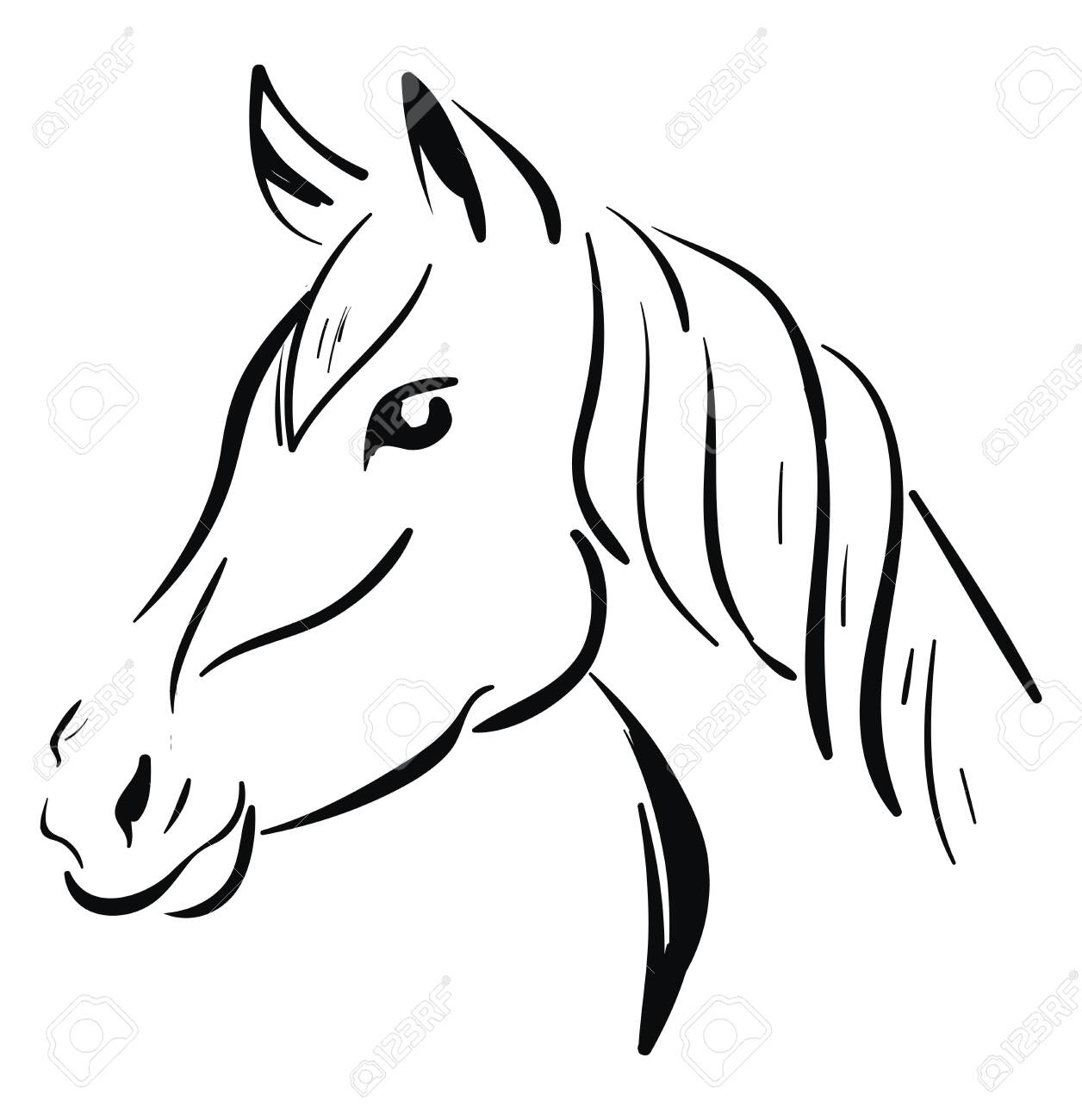 A Black Horse Sketch Vector Color Drawing Or Illustration Royalty Free Cliparts Vectors And Stock Illustration Image 132800103