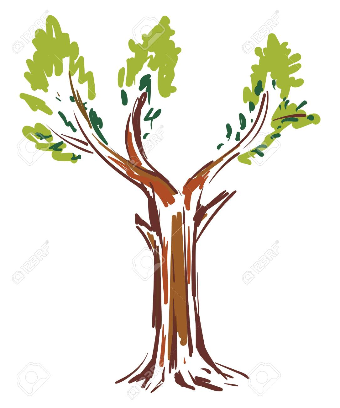 A Colorful Sketch Of A Big Tree With Green Leaves Vector Color Royalty Free Cliparts Vectors And Stock Illustration Image 132779865