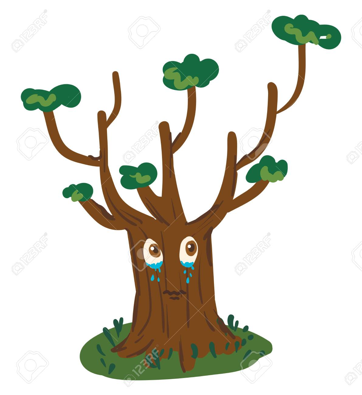 A Cartoon Of A Big Tree Crying With Pouring Tears Vector Color Royalty Free Cliparts Vectors And Stock Illustration Image 132787805 Once you have a basic tree, you can start varying your tree types and shapes to create whole at this point, you've finished the outline for your cartoon tree, and it should look really nice. 123rf com