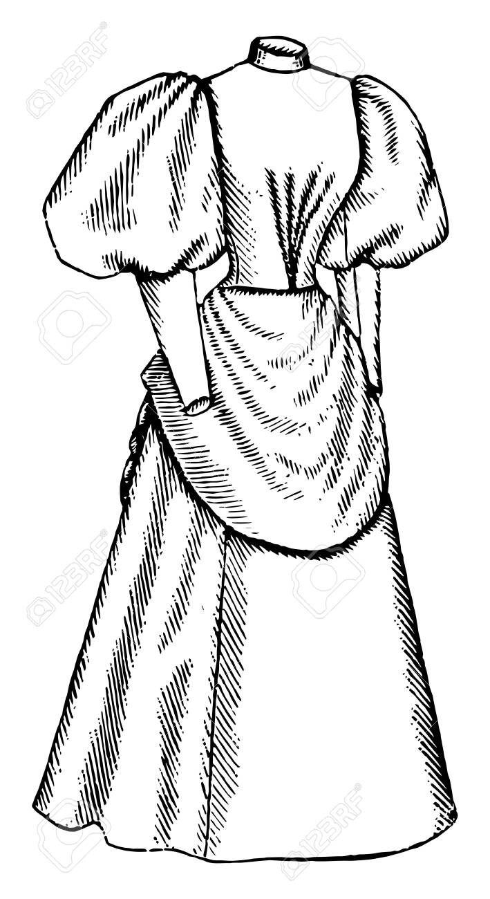 Late 19th Century Dress Is An Apron Like Drape Over The Front Royalty Free Cliparts Vectors And Stock Illustration Image 132800499