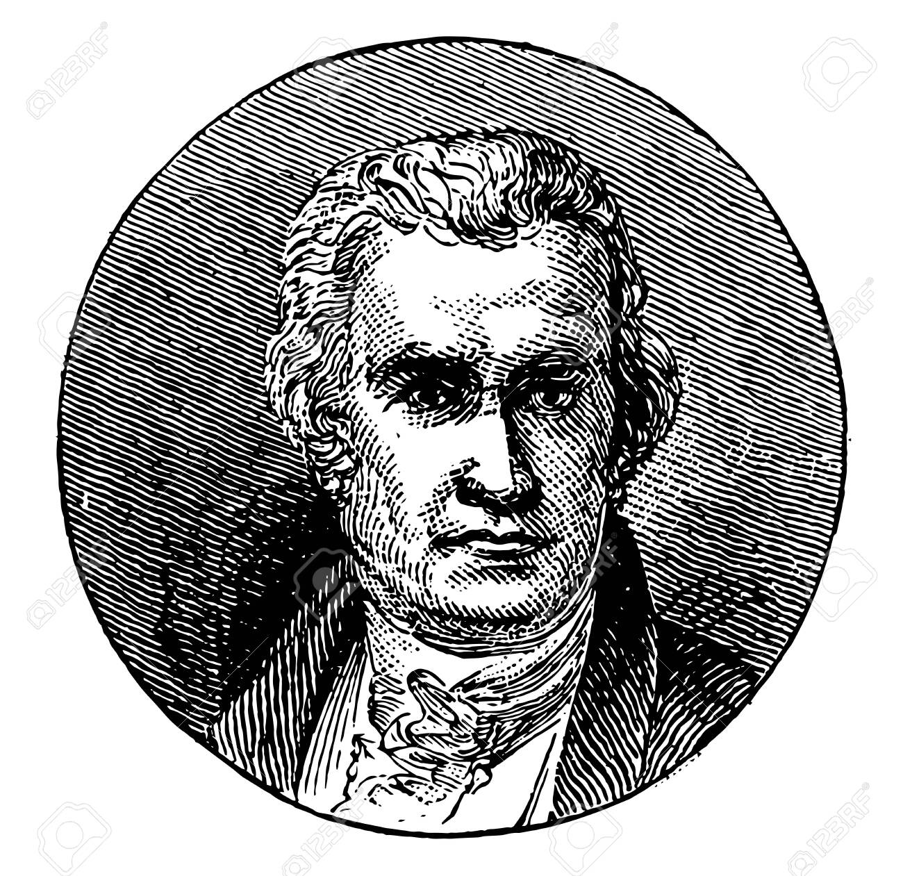 James Watts, 1736-1819, he was a Scottish inventor, mechanical engineer, and chemist, vintage line drawing or engraving illustration - 133481200