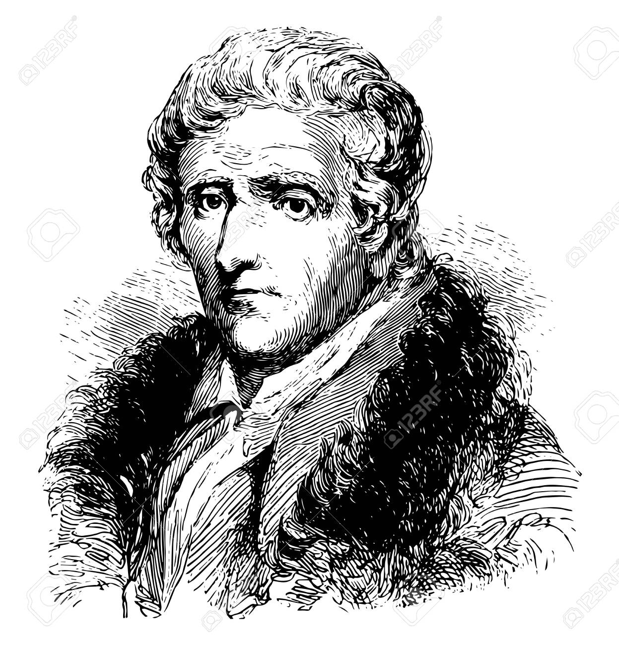 Daniel Boone 1734 to 1820 he was an American pioneer explorer frontiersman and one of the first folk heroes of the United States famous for his exploration and settlement vintage line drawing or engraving illustration - 133481205