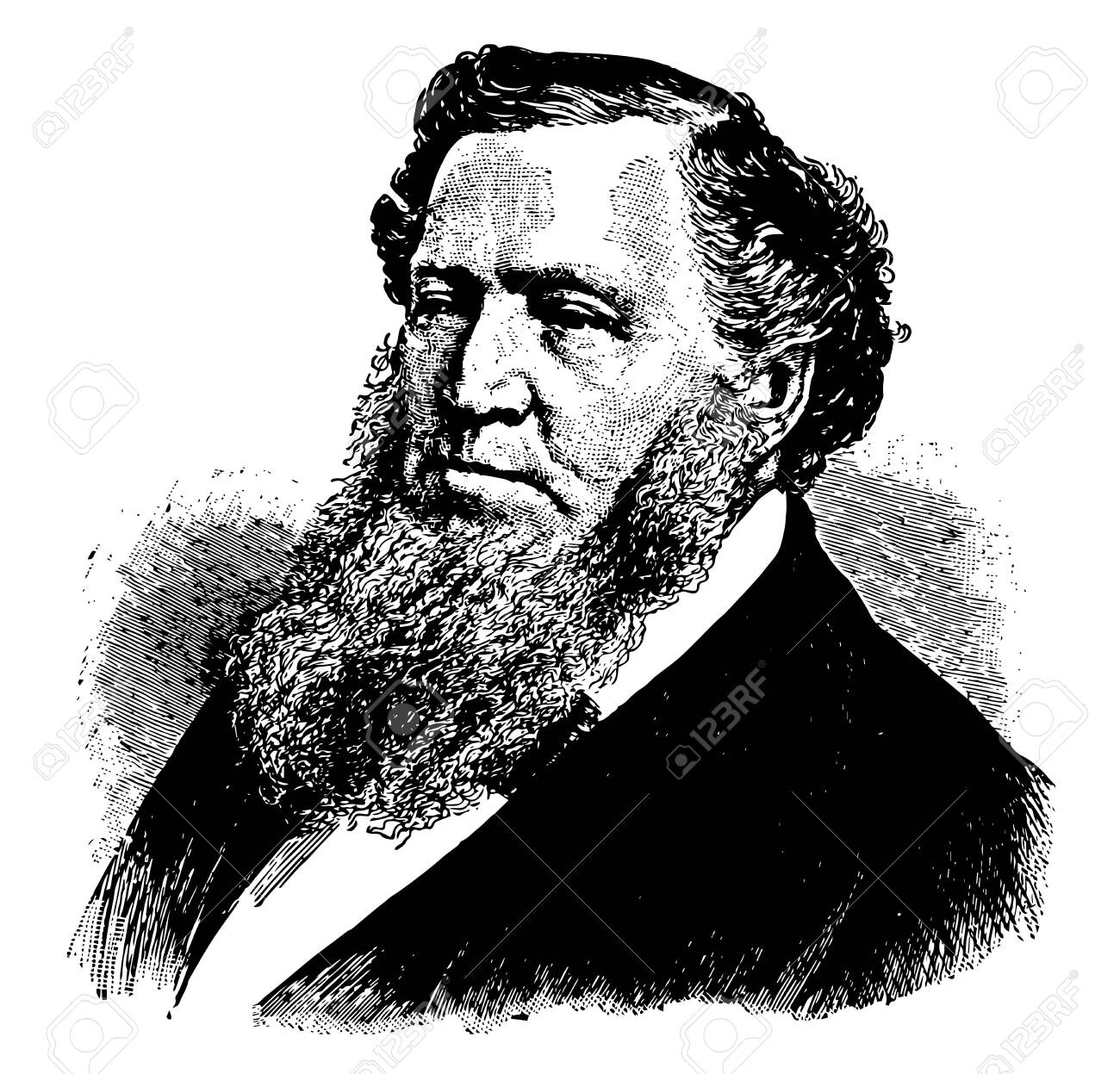 Brigham Young 1801 to 1877 he was an American leader politician and the first governor of the Utah Territory vintage line drawing or engraving illustration - 133236401