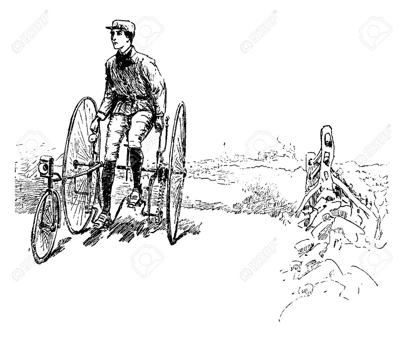 Man On A Tricycle Where A Man Riding A Tricycle And Looking Over Royalty Free Cliparts Vectors And Stock Illustration Image 133239067
