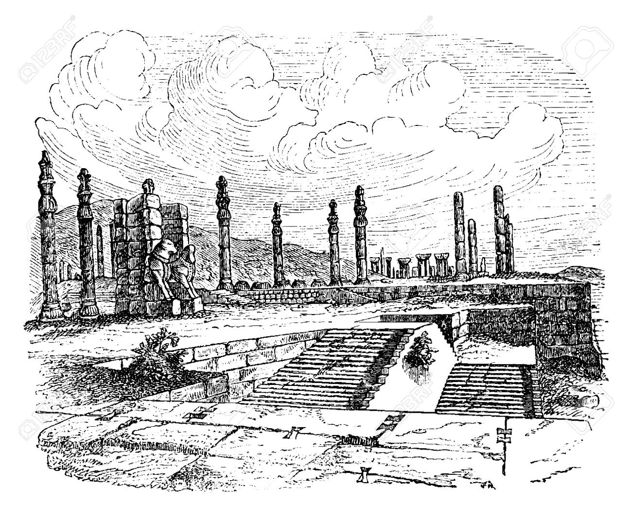 Ruins Of Persepolis Was The Ceremonial Capital Of The Persian Royalty Free Cliparts Vectors And Stock Illustration Image 133253341
